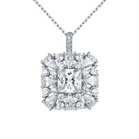 Solitaire Pendant Ladies Lab Diamond Sterling Silver Chain