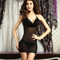 On Sale Cute Hot Deal Sexy Stylish V-neck Hollow Out Transparent Ladies Sleepwear Exotic Lingerie [6596724931]