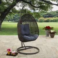 Better Homes and Gardens Lantis Outdoor Wicker Hanging Chair with Stand - Walmart.com