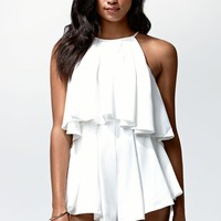 Tiger Mist Sweetheart Ruffled Playsuit - Womens Dress - White