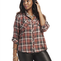 Flannel Roll-Up Sleeve Shirt | Wet Seal+