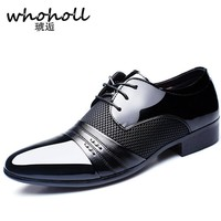 Whoholl 2017 Men dress Arrival Height Increasing Men Flats Shoes Breathable Wedding Shoes Male Business Shoes Dress Shoes
