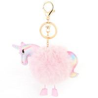 Fluffy Unicorn Pony Key chain