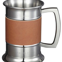 Visol 18 ounce Brown Leather Wrapped Stainless Steel Beer Tankard