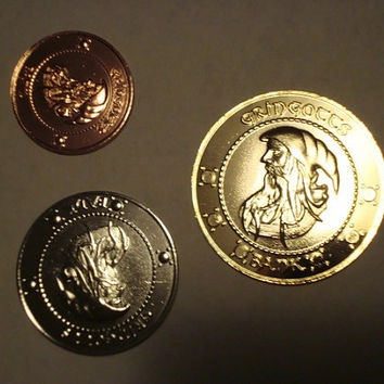 Metal Harry Potter Gringotts Bank Coin Set - Galleon, Sickle, and Knut - Prop Replicas