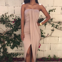 Strapless Asymmetric Maxi Dress