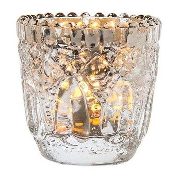Lillian Faceted Vintage Glass Candle Holders (Silver, Set of 6) For Use with Tea Lights - For Home Decor, Parties and Wedding Decorations
