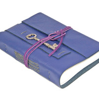 Purple Leather Journal with Skeleton Key Bookmark - Ready to Ship -