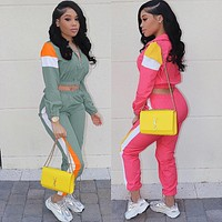 2019 splicing long sleeve zipper up short jacket long pants suits two piece set sporting tracksuit outfits LD8274