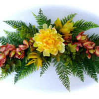 Silk Floral Swag on Artificial Fern Base with Tropical Orchids and Yellow Peony