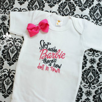 Girls Embroidered Onesuit and Matching Bow - Baby Shower Gift Set- Newborn Clothing - Infant Clothes - Toddler - Bodysuit - Barbie