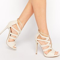 New Look Zilli Nude Tie Up Heeled Sandals