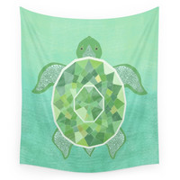 Society6 Turtle - Emerald Wall Tapestry