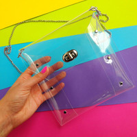 Clear clutch, vegan minimal handbag, transparent square bag, small nfl bag with chain, clear crossbody football, gift for football fans, LSU