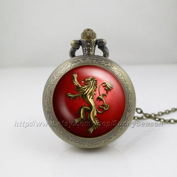 Game of thrones Pocket Watch,Game of thrones house Targaryen crest Pendant Necklace, a song of ice and fire Locket necklace,Pocket Watch
