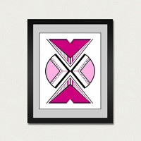 Abstract art print. Geometric print from original painting with pink and magenta.