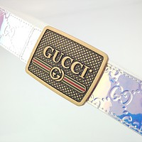 GUCCI Transparent Laser Belt Block Letter Logo Belt