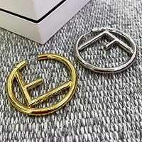 FENDI Women Classic F Letter Circular Simple Earrings Jewelry Accessories