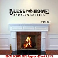 """LARGE """"Bless This Home"""" Wall Décor Sticker Die-cut Vinyl Decal - Western - Country - Rustic - Vintage (48""""x9"""")"""