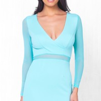Indie XO Perfect Mesh Aqua Blue Black Sheer Mesh Accent Long Sleeve Cross Wrap V Neck Bodycon Mini Dress - Just Ours!