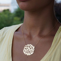14K Yellow Gold Filled - Handmade Initials - Monogram Necklace Small To Large Sizes - (Order Any Initials)