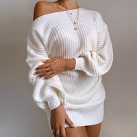 2020 autumn and winter new women's casual strapless lantern sleeve knitted sweater dress