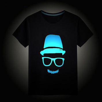 Kids Night Light Punk Tees Children's Clothing Short Sleeves Tops Boys Girls Noctilucence Luminous Brand T-shirts Baby Clothes
