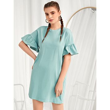 SHEIN Flounce Sleeve Solid Dress