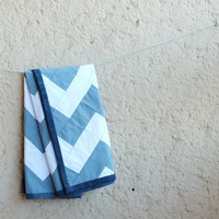 Baby Blanket, Chevron Baby Quilt, Blue and White with Tiny Polka Dots, Lightweight Recycled Denim Binding
