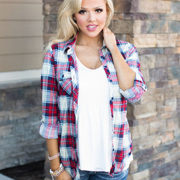 Never Been Fragile Plaid Button Up Top