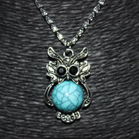 Silver and Blue Stone Owl Pendant Necklace