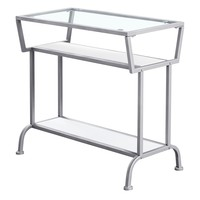 """Accent Table - 22""""H / White / Silver / Tempered Glass"""