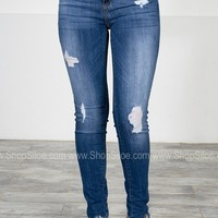 Skinny Mid-Rise Distressed Denim