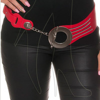 Thick belt with large fastener and chain accents in red