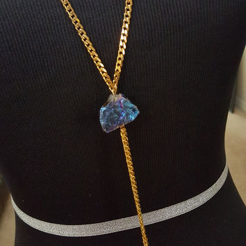 Chain Tassel Necklace with Titanium Rock Quartz Crystal