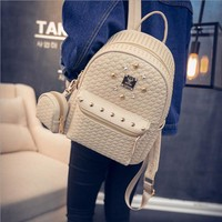 Hot Fashion Backpack Women And Small Bag Embossing Diamonds PU Leather Rivet Backpacks For Teenager Girls Back Bags For School