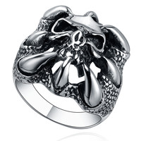 Stainless Steel Gothic Dragon Claw W. Skull Ring