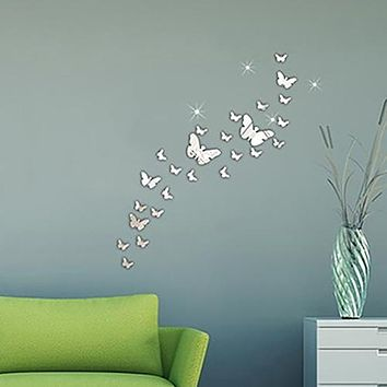 Home Decor Gift Butterfly Big Wings Mirrors Decorative Wall Decal Wall Sticker