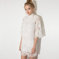 White High Neck Lace Embroidered Mini Dress