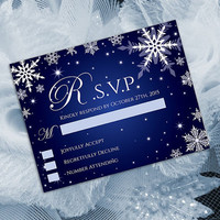 DIY Printable Wedding RSVP Template | Editable MS Word file | 5.5 x 4.25 | Instant Download | Winter White Snowflakes Royal Blue