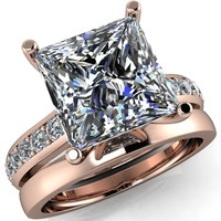 Evans Princess/Square Diamond Channel Cathedral 4 Prong Ring