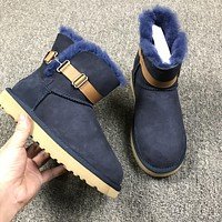 Ugg 1011252 Navy Blue Classic II Mini Boot Sheepskin Boots Snow Boots