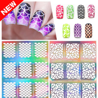 12tips/sheet New Hollow Nail Art Sticker Stencil Fish Scale Vinyls Irregular Grid Pattern Nail Art Tips Stamping Guide