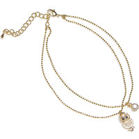 Gold Electro Plated Czech Crystal Wisdom of the Owl Ankle Bracelet | Body Candy Body Jewelry