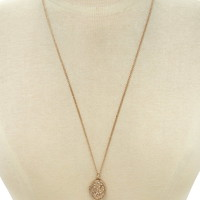 Etched Floral Locket Necklace | Forever 21 - 1000205391
