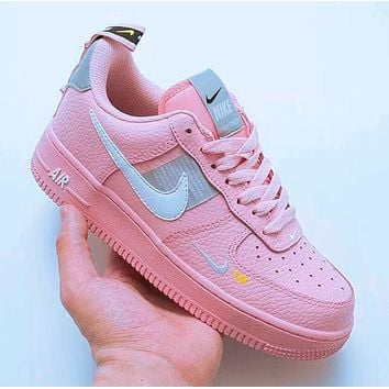 Nike Air Force 1 Classic Women Flat Sport Running Shoes Sneakers Pink