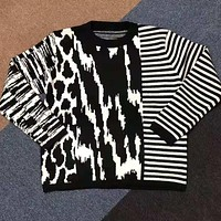 GIVENCHY Popular Men Women Casual Stripe Joining Together Embroidery Sweater Sweatshirt