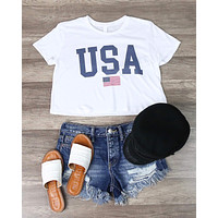 Distracted - USA Cropped Top Graphic Tee in More Colors