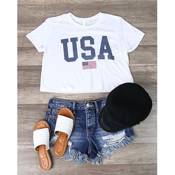 Distracted - USA Cropped Top Graphic Tee in White
