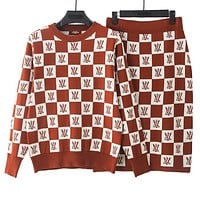 LV Louis Vuitton High Quality Autumn Winter Newest Popular Women Knit Long Sleeve Plaid Sweater Top Skirt Two Piece Set Brown